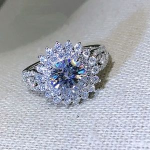 Sunburst White Sapphire Ring